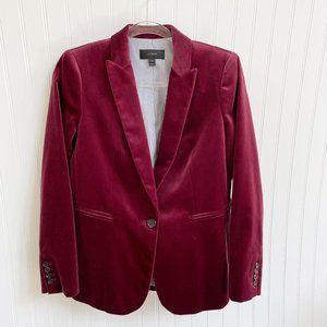 J. Crew Parke Blazer Burgundy Velvet Jacket